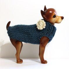 Dark Teal Dog Sweater on Etsy, $15.00