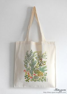 Sac cabas en coton écru imprimé de mes cactus et succulente aquarelle originale…