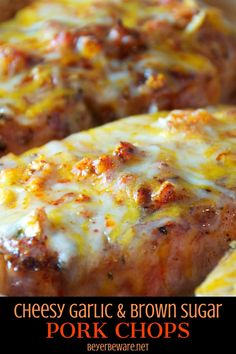 Cheesy garlic and brown sugar pork chops are a simple pork chops recipe cooked in the oven in under 30 minutes for an easy weeknight meal PorkChops EasyRecipes Cheese Garlic Pork PorkChop Recipes Easy Pork Chop Recipes, Oven Recipes, Meat Recipes, Cooking Recipes, Recipes Dinner, Dessert Recipes, Healthy Recipes, Desserts, Oven Pork Chops