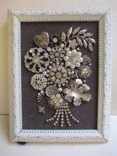 Jeweled Framed Art Jewelry Flower Bouquet Valentine Hearts Gray White Silver Vintage Rhinestone Fabulous - Old jewelry - Costume Jewelry Crafts, Vintage Jewelry Crafts, Antique Jewelry, Vintage Jewellery, Victorian Jewelry, Button Art, Button Crafts, Jewelry Tree, Glass Jewelry