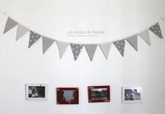 Banderita para decorar habitaciones en tonos grises. Medida aprox. 200 cm, 12 piezas - 16€ *precios sujetos a cambios según telas y tamaños