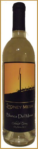 Blanca Del Mesa.  A Colorado Wine.   Citrus apple fruit forward nice balance. A semi dry wine.  This wine is a blend of 70% Pinot Gris, 30% Gewurztraminer.     0.75 g/l residual sugar  Acid 7.5 g/l  The Alcohol Content is 12% and the Cost of this wine is $15