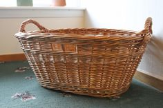 A handy washing basket with both woven handles for carrying and finger holes on the long sides so you can hold it against your side with one hand. Washing Basket, Long Sides, Vintage Baskets, Basket Weaving, Wicker Baskets, Rattan, Bamboo, Two By Two, Finger