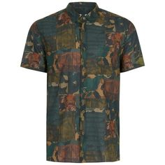 TOPMAN Spliced Print Patchwork Shirt (€34) ❤ liked on Polyvore featuring men's fashion, men's clothing, men's shirts, men's casual shirts, multi, mens print shirts, mens patterned shirts, mens classic fit shirts and mens cotton shirts