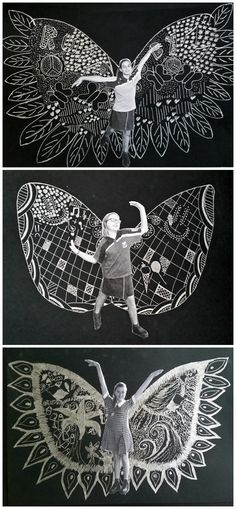 June 2015: Inspired by New York Artist Kelsey Montague's 'What Lift's You' wing murals. Silver pen on black.