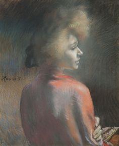 """""""Le Châle Rouge"""" pastel d'Albert Besnard (circa 1924) à l'exposition """"Albert Besnard"""" au Petit Palais, Musée des Beaux-Arts de la Ville de Paris, décembre 2016."""