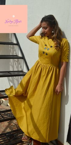 mustard long indian dress  To place orders visit our facebook page. Mustard Dressing, Ethnic Dress, Indian Ethnic, Fashion Studio, Indian Dresses, Wrap Dress, Facebook, Indian Gowns, Dress India