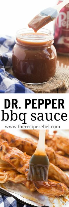 This Easy Homemade Dr. Pepper BBQ Sauce is sweet, sticky, and is great on grilled chicken, beef, pork or anything! Quit the store bought barbecue sauces and make your own! Barbecue Sauce Recipes, Barbeque Sauce, Grilling Recipes, Bbq Sauces, Vegetarian Grilling, Healthy Grilling, Smoker Recipes, Rib Recipes, Grilling And Bbq