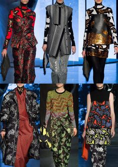 KENZO - Paris Fashion Week – Autumn/Winter 2014/2015 – Print Highlights – Part 1 catwalks - David Lynch Inspired Themes – Surreal Print Forms – Foil Embellishments – Angular Print Motifs – Optical Explorations – Chevron Stripes over Optical Pattern – Dark Grounds