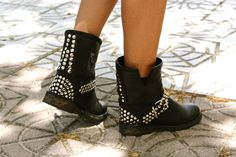 studded boots - i'd wear these around our property with some jean shorts and a tank. lol