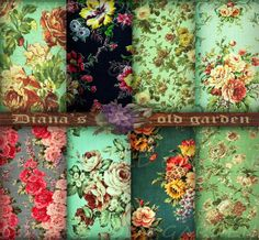 Floral Digital Paper Vintage Mint. Victorian by DianaGarden, $4.50