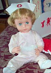Nancy Nurse- I had this doll as a child and my sister hated her. Because... I insisted on sleeping with my doll and she had a hard head and it would knock my sister in the head at night. (we shared a full size bed) LOL  Poor Sis what she had to put up with!