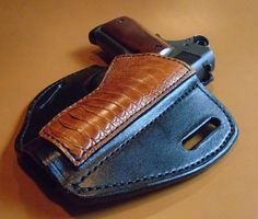 OWB 1911  4.25 Leather Pancake Holster with Genuine Cognac Ostrich Leg trim. Right Handed