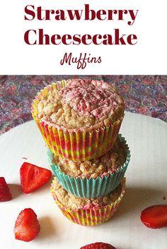 #healthy Strawberry Cheesecake Muffins! Taste like dessert for breakfast! #vegan #glutenfree