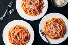 Bucatini All'Amatriciana / Photo by Chelsea Kyle, Prop Styling by Alex Brannian, Food Styling by Grace Parisi