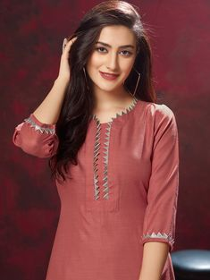 Rust Red Cotton Straight Cut Kurti with Printed Palazzo Neck Designs For Suits, Sleeves Designs For Dresses, Neckline Designs, Dress Neck Designs, Simple Kurti Designs, Kurta Designs Women, Kurti Embroidery Design, Hand Embroidery, Embroidery Suits