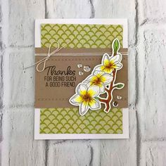 Thanks Friend Yellow White Flower Stamped Card from TechniqueTuesday.com. Created with stamps and dies from Technique Tuesday.