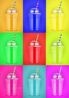 Smoothie cup with tube on color background. Presentation Poster for milkshake and lemonade and smoothie. Pop art style. Vector Ill