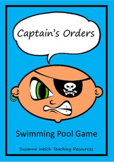 Great swimming pool game that helps with water confidence. Ship/Pirate/Ocean command cards to print and laminate. Each card has the command, a visual cue, and the action.Stand at the side of the pool, call out a command and hold up the card. Swimming Pool Games, Visual Cue, Ocean Themes, Confidence, Action, Ship, Sport, School, Water