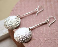 reticulated silver jewelry | Reticulated Sterling Silver Disc Earrings Hand Forged One of a Kind M ...