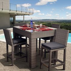Have to have it. Monza All-Weather Wicker Deluxe Bar Height Patio Dining Set - Seats 4 - $1762.98 @hayneedle.com