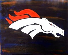 Denver Bronco horse painted with acrylic on a 16x20 canvas by, Ally at paintpartyonwheels.com