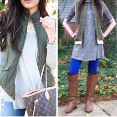 Army Green Puffer Vest Vest features faux fur lining and zip up front with pockets. Price is firm unless bundled. Material is polyester and acrylic. First photos on left is for styling inspiration.  Price firm unless bundled. Jackets & Coats Puffers