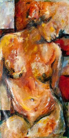 "Contemporary Artists of Arizona: ""Retrospect"" - Original ""Nude on Abstract"" oil painting by Arizona Artist, Sharon Sieben"