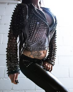 """TOXIC VISION Behemoth studded biker jacket 