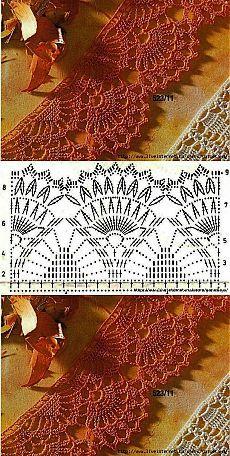 Khaimah. Crochet Border Patterns, Crochet Boarders, Crochet Bedspread Pattern, Crochet Bikini Pattern, Crochet Lace Edging, Crochet Motifs, Crochet Cardigan Pattern, Crochet Diagram, Crochet Chart