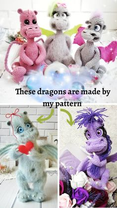 Crochet Dragon Pattern, Doily Patterns, Crochet Patterns Amigurumi, Handmade Toys, Handmade Ideas, Jute Crafts, Happy Birthday Gifts, Stuffed Toys Patterns, Crochet Animals