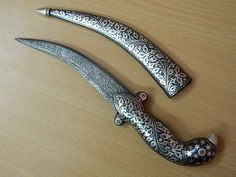 """10"""" Vintage Look Indo-Persian Mughal Silver Dagger Knife Damascus Blade no Wootz"""