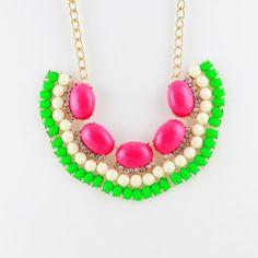 Wholesale Items Bijoux Women Gold Color Alloy Colorful Imitation Gemstone Round Beads Choker Necklace