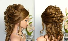 Curly wedding prom hairstyle for long hair. Свадебная прическа, прическа...