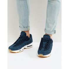 Nike Air Max 95 Premium Trainers In Navy 538416-402 ($170) ❤ liked on Polyvore featuring men's fashion, men's shoes, men's sneakers, navy, navy blue mens shoes, mens navy shoes, nike mens sneakers, mens lace up shoes and mens navy blue sneakers