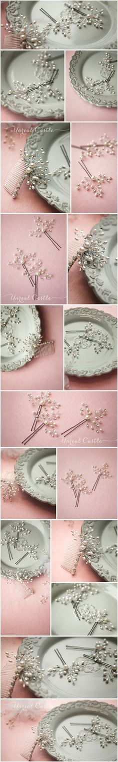 Hair accessories from bobbie pins, wire and beads