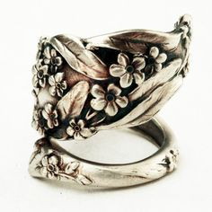Spoon Ring Vintage Forget Me Not Floral Sterling Silver Ring, Handmade in Your Size (2744). $58,00, via Etsy.