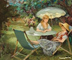Two Sisters Artwork by Marcel Dyf Hand-painted and Art Prints on canvas for sale,you can custom the size and frame