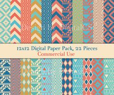4.70USD. 22 tribal digital papers, printable paper with tribal patterns. Native American inspired patterns and colors: geometric, chevron patterns in turquoise, blue, coral, cream colors. http://sulia.com/channel/crafts/f/71da761499832851cd2cd9881f4ccb10/?pinner=57242641