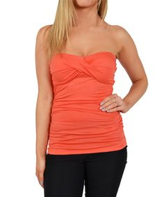 Love this Melon Ball Twist-Front Strapless Top by Guilty on #zulily! #zulilyfinds