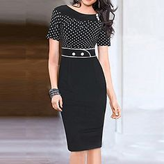 Dolce Women's Round Collar Polka Dots Splicing Pencil Dress – USD $ 16.99