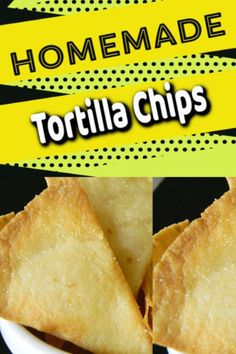 Tortilla Chips that are Home which are Easy to make - Justbe sure to use Fresh Corn tortillas for best tasting. But this recipe is Easy and Quick to make. Create with this Recipe today Quick Appetizers, Vegan Appetizers, Savory Snacks, Appetizer Recipes, Snack Recipes, Easy Recipes, Healthy Snacks, Healthy Eating, Flour Tortilla Chips