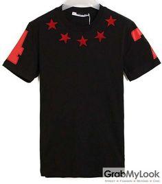 GrabMyLook Stars 47 Black Red Mens Short Sleeves T-Shirt Summer Beach Wear