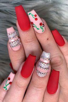 Best Acrylic Nails, Acrylic Nail Designs, Summery Nails, Watermelon Nail Art, Cherry Nail Art, New Nail Art Design, Glow Nails, Nails First, Fire Nails