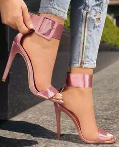 Pink heels, say no more! Open Toe High Heels, Hot High Heels, Sexy Heels, Stilettos, Pumps, Pretty Shoes, Beautiful Shoes, Hot Shoes, Shoes Heels