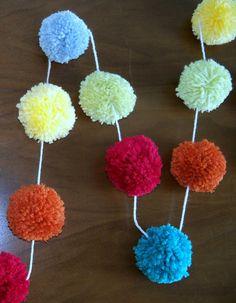 Celebrate & Party  Yarn Pom Pom Garland for by CupcakeWishesStore, $25.00