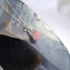 Rose quartz wire wrapped pendant rose quartz pendant by Chalso