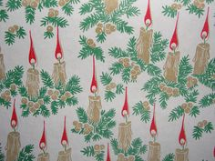 30 Feet of Vintage Christmas Wrapping Paper Old Fashioned Candles | eBay