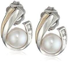 Sterling Silver, 14k Yellow Gold, and Freshwater Cultured Pearl  and Diamond Earrings available at joyfulcrown.com