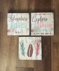 SET OF THREE, Nursery Wall Decor, Rustic Home Decor, Baby Girl Room Decor, Woodland Nursery Decor, Adventure Awaits, Explore Dream Discover by LoveSmallTownUSALLC on Etsy https://www.etsy.com/listing/503005850/set-of-three-nursery-wall-decor-rustic